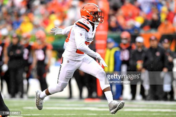 Free safety Damarious Randall of the Cleveland Browns celebrates a sack in the second quarter of a game against the Cincinnati Bengals on December...