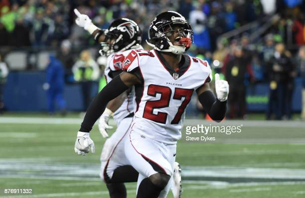 Free safety Damontae Kazee of the Atlanta Falcons reacts after the Seattle Seahawks missed a long field goal attempt in the last minute of the during...