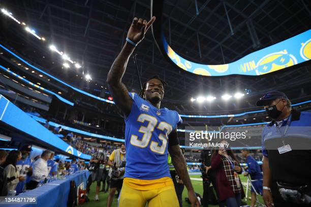 Free safety Derwin James of the Los Angeles Chargers celebrates after defeating the Las Vegas Raiders at SoFi Stadium on October 4, 2021 in...