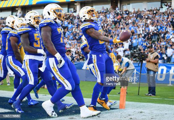 Free safety Derwin James of the Los Angeles Chargers celebrates his interception in the third quarter against the Arizona Cardinals at StubHub Center...