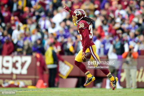 Free safety DJ Swearinger of the Washington Redskins celebrates after an interception during the fourth quarter against the Minnesota Vikings at...
