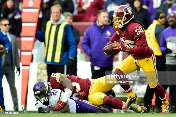 Free safety DJ Swearinger of the Washington Redskins returns an interception during the fourth quarter against the Minnesota Vikings at FedExField on...