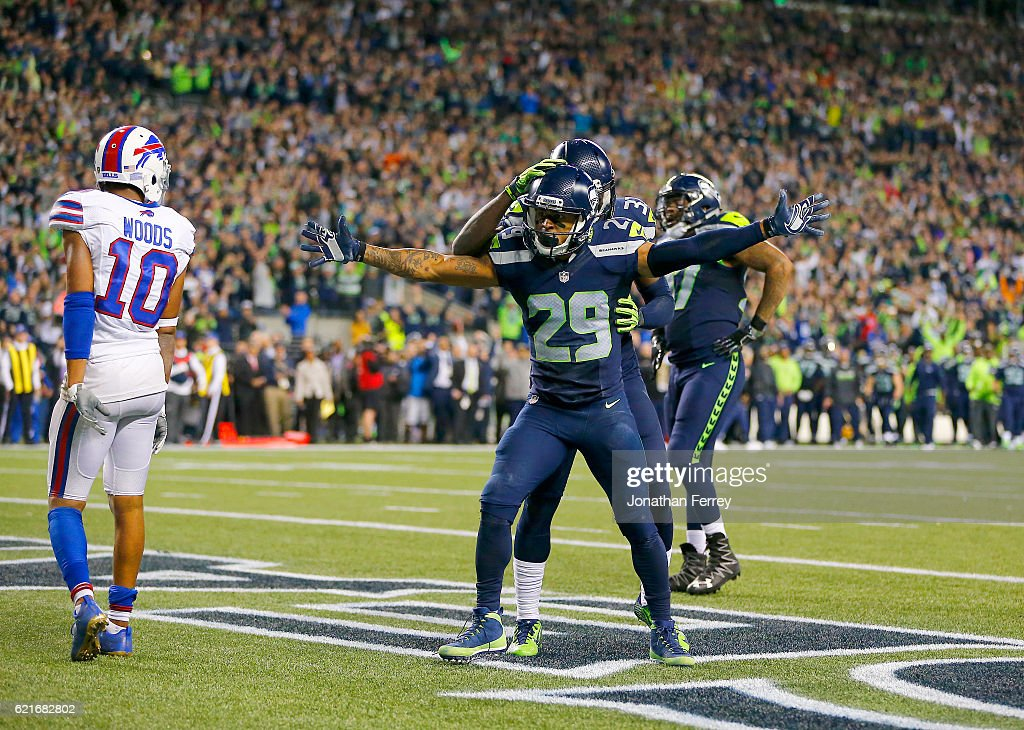 Free safety Earl Thomas #29 of the Seattle Seahawks celebrates after helping break up a touchdown play in the final moments against the Buffalo Bills at CenturyLink Field on November 7, 2016 in Seattle, Washington.