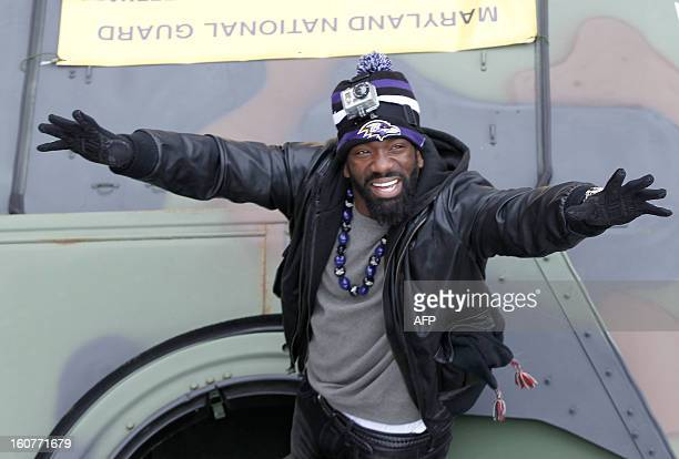 Free safety Ed Reed of the Super Bowl champion Baltimore Ravens greets fans during the Ravens victory parade and rally in Baltimore Maryland on...