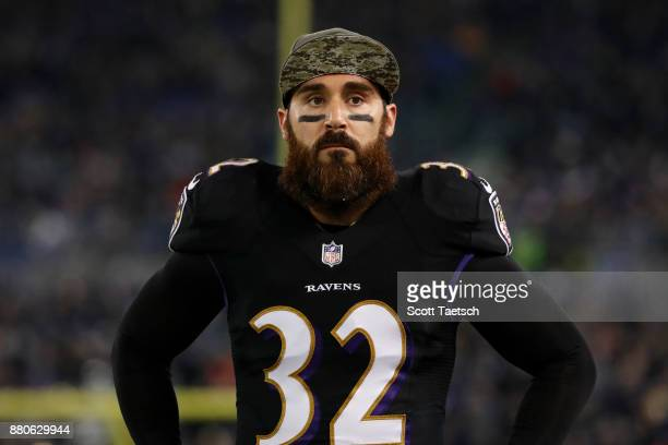 Free Safety Eric Weddle of the Baltimore Ravens looks on from the side line during the second quarter against the Houston Texans at MT Bank Stadium...