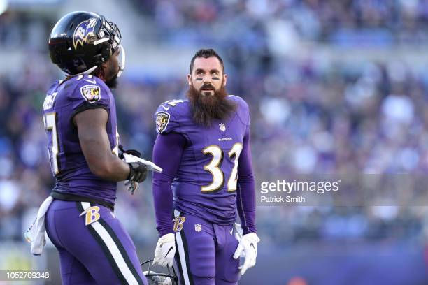 Free Safety Eric Weddle of the Baltimore Ravens stands on the field in the first quarter against the Baltimore Ravens at MT Bank Stadium on October...