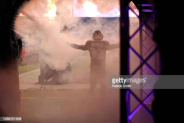 Free Safety Eric Weddle of the Baltimore Ravens takes the field prior to the game against the Cleveland Browns at MT Bank Stadium on December 30 2018...
