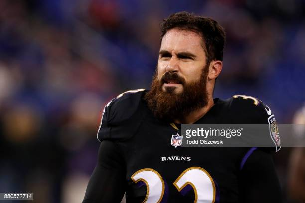 Free Safety Eric Weddle of the Baltimore Ravens walks off the field during warms up prior to the game against the Houston Texans at MT Bank Stadium...