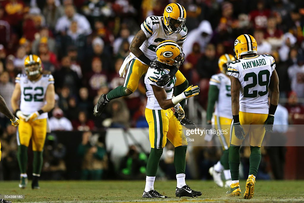 Free safety Ha Ha Clinton-Dix #21 and cornerback LaDarius Gunter #36 of the Green Bay Packers celebrate a fourth down against the Washington Redskins in the fourth quarter during the NFC Wild Card Playoff game at FedExField on January 10, 2016 in Landover, Maryland.