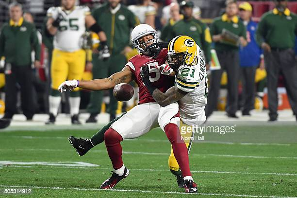 Free safety Ha Ha ClintonDix of the Green Bay Packers breaks up a pass intended for wide receiver Michael Floyd of the Arizona Cardinals during the...