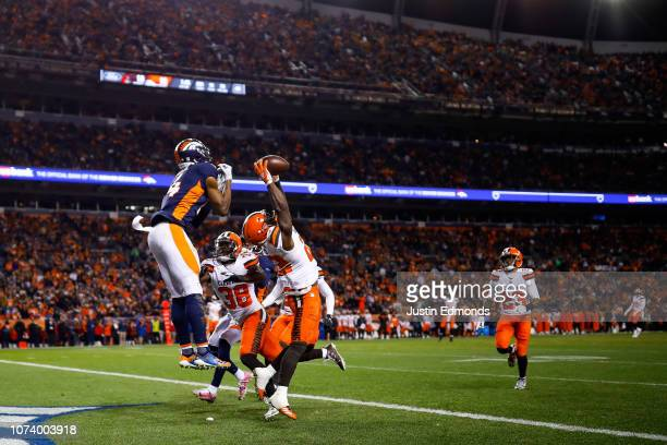 Free safety Jabrill Peppers of the Cleveland Browns intercepts a pass intended for wide receiver Courtland Sutton of the Denver Broncos in the end...