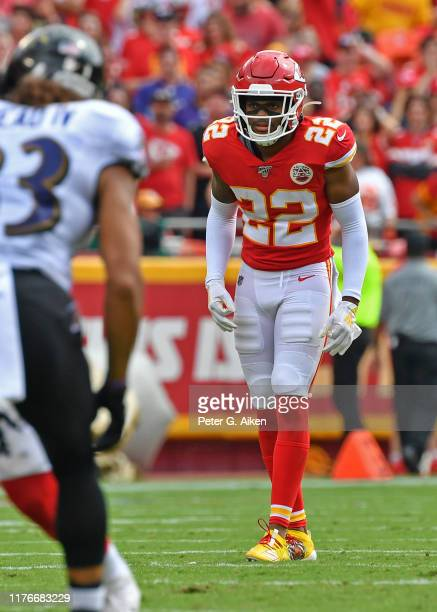 Free safety Juan Thornhill of the Kansas City Chiefs gets set on defense against the Baltimore Ravens during the first half at Arrowhead Stadium on...