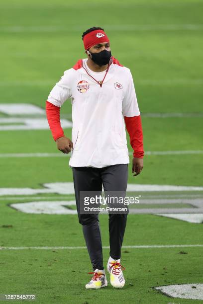 Free safety Juan Thornhill of the Kansas City Chiefs walks the field before the NFL game against the Las Vegas Raiders at Allegiant Stadium on...
