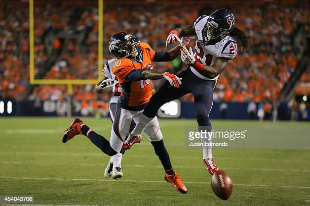 Free safety Kendrick Lewis of the Houston Texans breaks up a pass intended for wide receiver Emmanuel Sanders of the Denver Broncos during a...