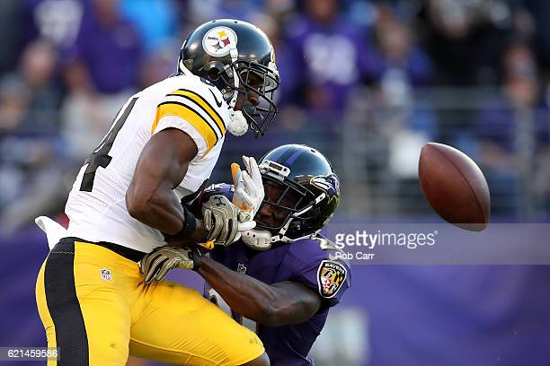 Free safety Lardarius Webb of the Baltimore Ravens breaks up a pass intended for wide receiver Antonio Brown of the Pittsburgh Steelers in the fourth...