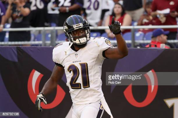 Free safety Lardarius Webb of the Baltimore Ravens is intoduced before the start of a preseason game against the Washington Redskins at M&T Bank...