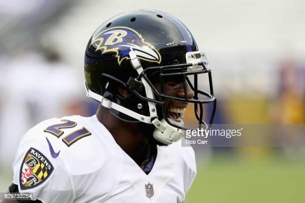 Free safety Lardarius Webb of the Baltimore Ravens warms up before the start of a preseason game against the Washington Redskins at M&T Bank Stadium...