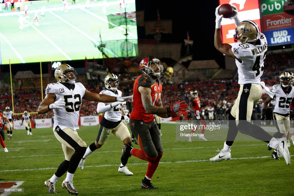 Free safety Marcus Williams #43 of the New Orleans Saints intercepts a pass in the end zone intended for wide receiver Mike Evans #13 of the Tampa Bay Buccaneers during the third quarter of an NFL football game on December 31, 2017 at Raymond James Stadium in Tampa, Florida.