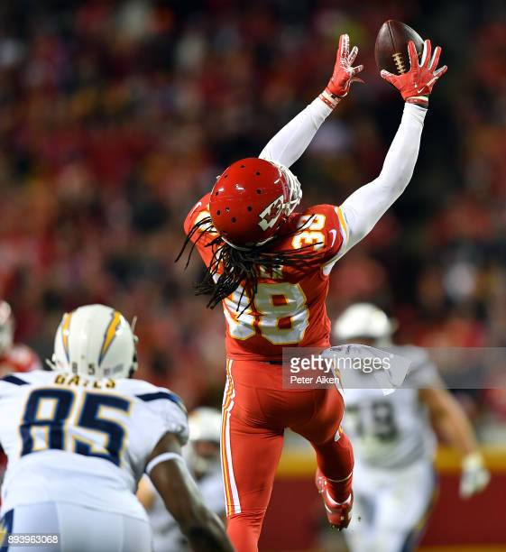 Free safety Ron Parker of the Kansas City Chiefs intercepts a pass intended for tight end Antonio Gates of the Los Angeles Chargers during the game...