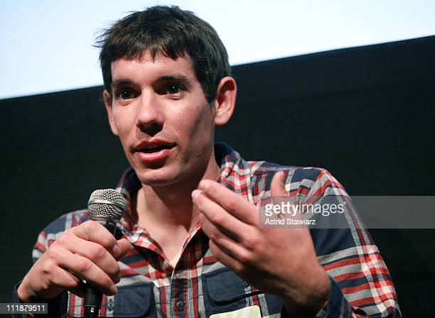 Free solo climber Alex Honnold speaks during the New York WILD Film Festival at Tribeca Cinemas on April 7 2011 in New York City