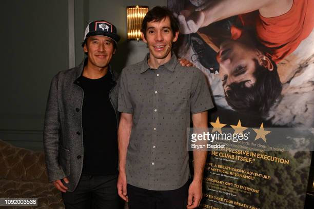 Free Solo Director Producer and Cinematographer Jimmy Chin and featured Free Soloist Alex Honnold attend a special screening of National Geographic...