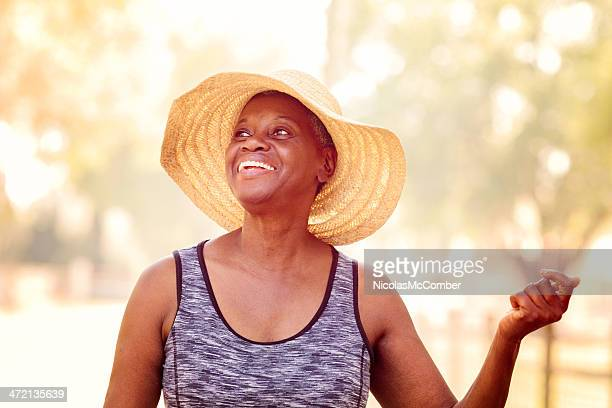 Free spirited senior African American woman