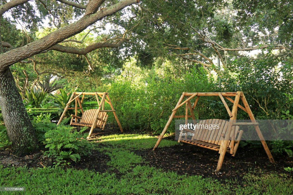 Awesome Free Standing Wood Bench Swings Under A Florida Oak Tree Caraccident5 Cool Chair Designs And Ideas Caraccident5Info