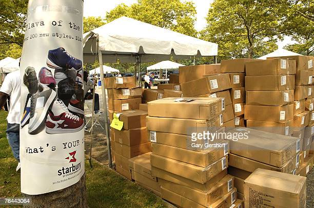 Free Starbury Merchandise at The New York Call and Youth Xplosion Starbury Giveback Day on August 31 2007 in Eisenhower Park East Meadow New York