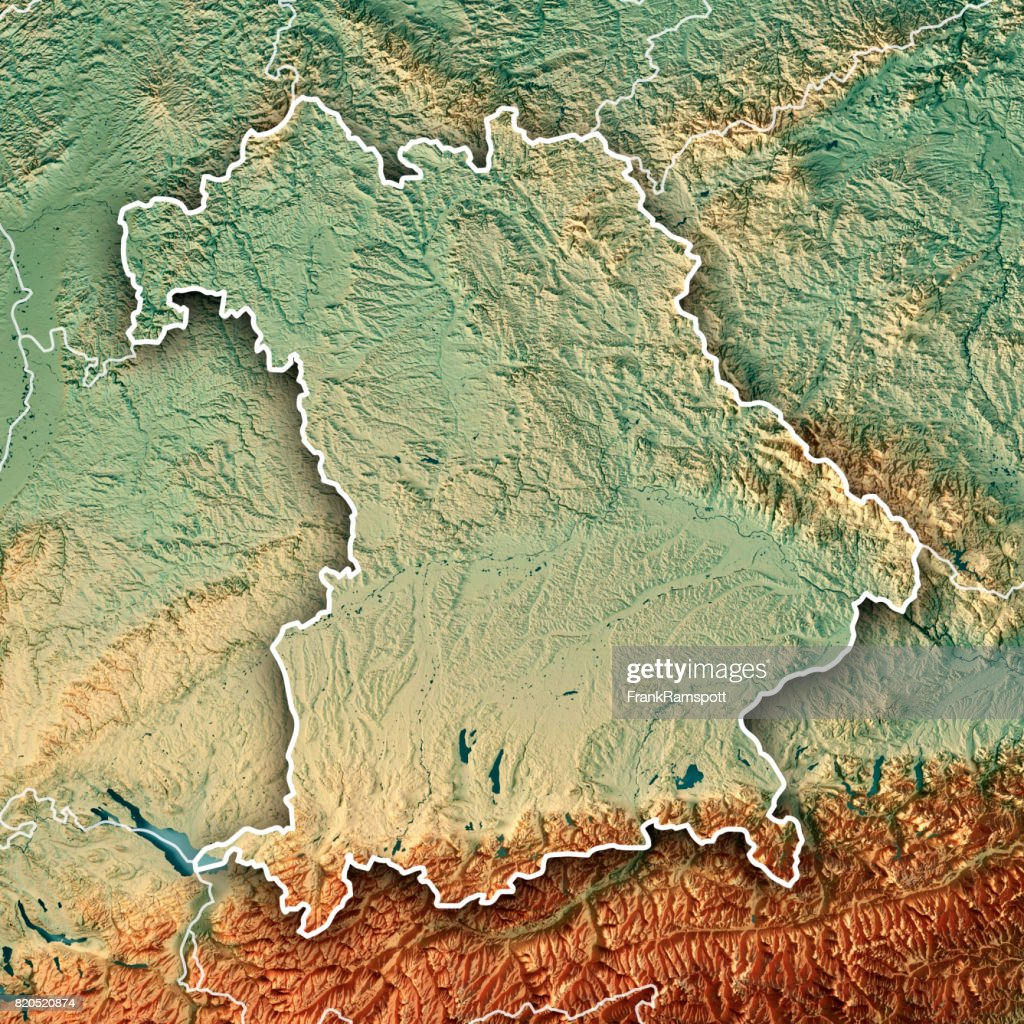 free state of bavaria germany 3d render topographic map border stock photo