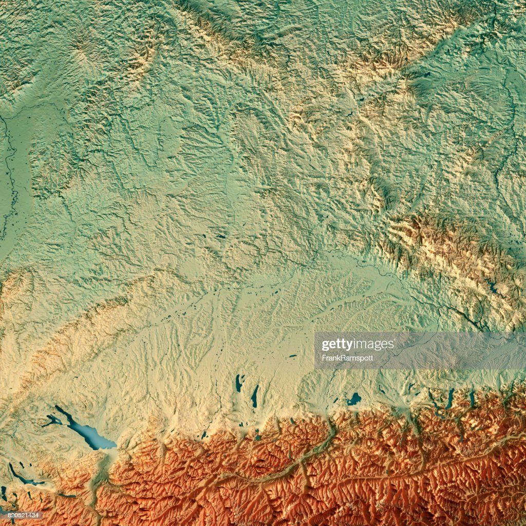 free state of bavaria germany 3d render topographic map stock photo