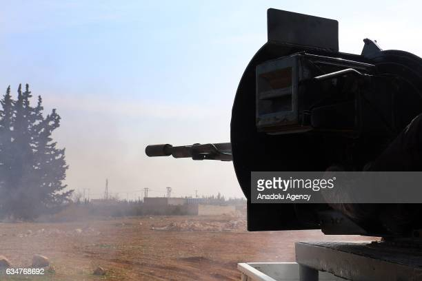 Free Syrian Army fighters supported by the Turkish Armed Forces clash with Daesh terrorists in AlBab town of Aleppo during the 172th day of the...