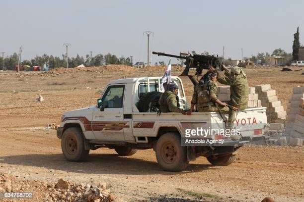 Free Syrian Army fighters supported by the Turkish Armed Forces take control of the western areas of AlBab town of Aleppo during the 172th day of the...