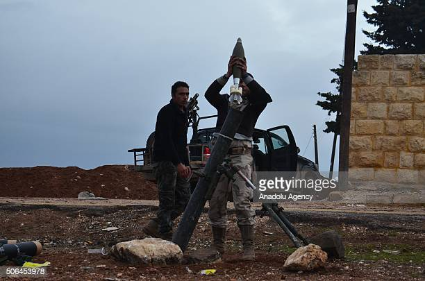 Free Syrian Army forces prepare to attack DAESH with heavy weapons at Baragid village following Daesh's attack at ElBil and Biriyte villages in the...