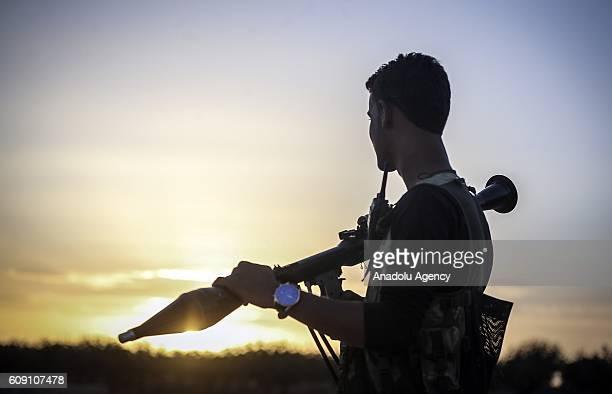 Free Syrian Army member is seen in Taslihoyuk village of Jarabulus as they carry out an operation within the Operation Euphrates Shield led by...