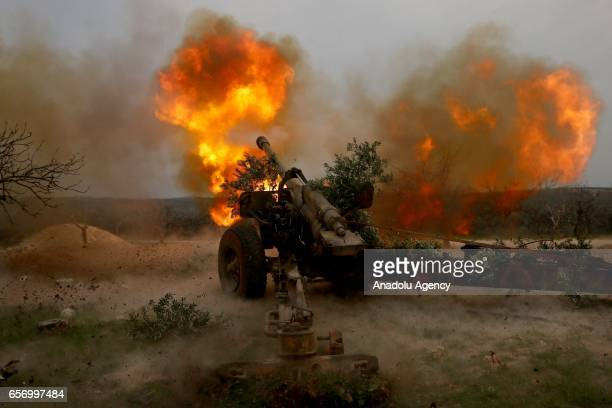 Free Syrian Army members and other opposition groups attack to Assad Regime Forces as they advance to Hama in Syria on March 23 2017