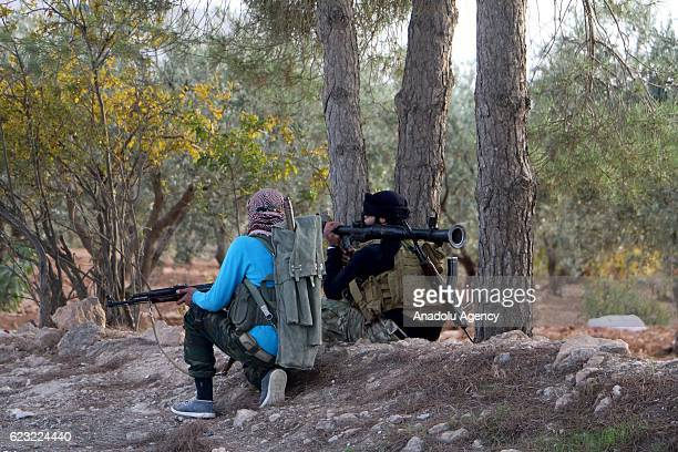 Free Syrian Army members are seen after they rescued Olan village located in northern Bab district of Aleppo from Daesh during the 'Operation...