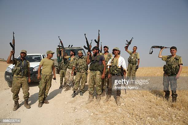 Free Syrian Army members are seen at the area where Sacur Brook located after taking control of the area from Daesh terrorists during the Operation...