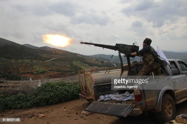 Free Syrian Army members attack PYD/PKK positions after liberating the villages of Sharbanli and Shadia within the 'Operation Olive Branch' in...