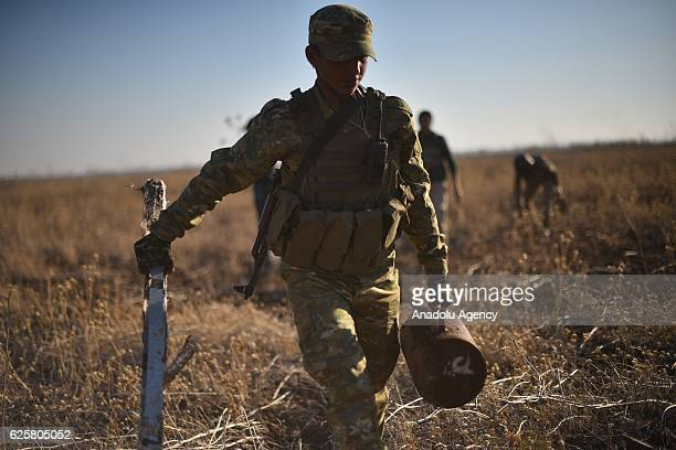 Free Syrian Army members defuse mines planted by Daesh terrorists near Daesh controlled Bab district during the Operation Euphrates Shield in Aleppo...