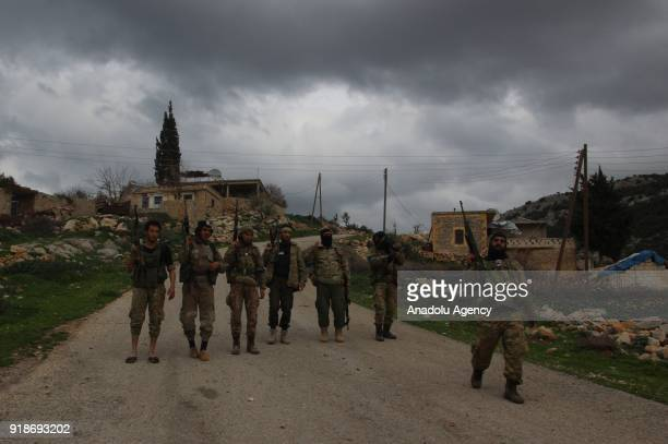 Free Syrian Army members patrol after liberating the villages of Sharbanli and Shadia within the 'Operation Olive Branch' in northwest of Afrins Rajo...