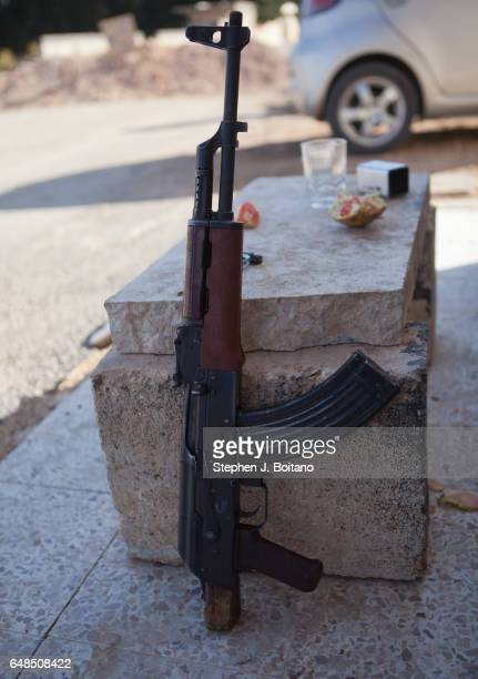 A'ZAZ ALEPPO SYRIA A Free Syrian Army rifle at a checkpoint in Tal Rifaat Syria