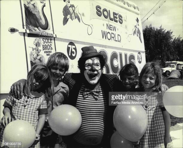 Free Tickets for children to see the soles circus were today given out by Joe the clown at Leichhardt Park shown with Joe are four of the lucky kidsL...