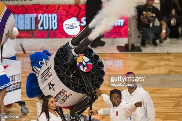 Free tshirts are given out between events during State Farm AllStar Saturday Night as part of AllStar Weekend at the Staples Center in Los Angeles...