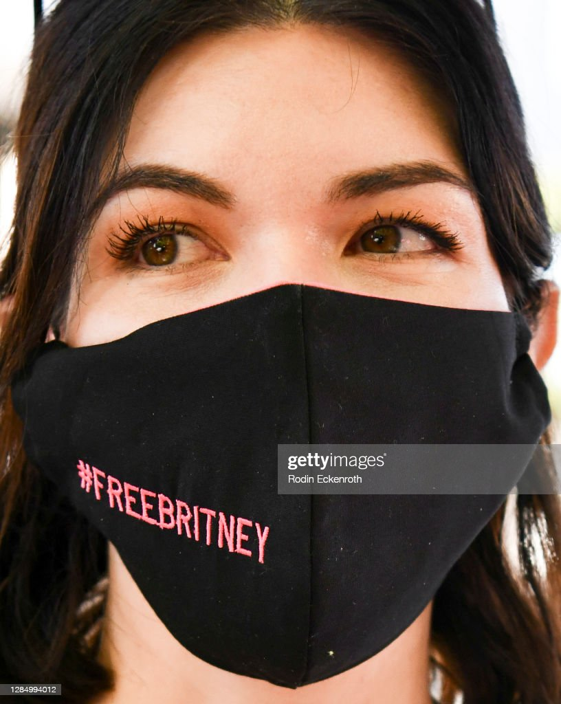 freeBritney face masks at the FreeBritneyLA protest in downtown ...