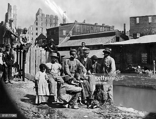 Freed African-Americans in a southern town after the US Civil War, circa 1870.