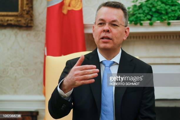 Freed American pastor Andrew Brunson speaks during a meting with the US President in the Oval Office at the White House in Washington DC October 13...
