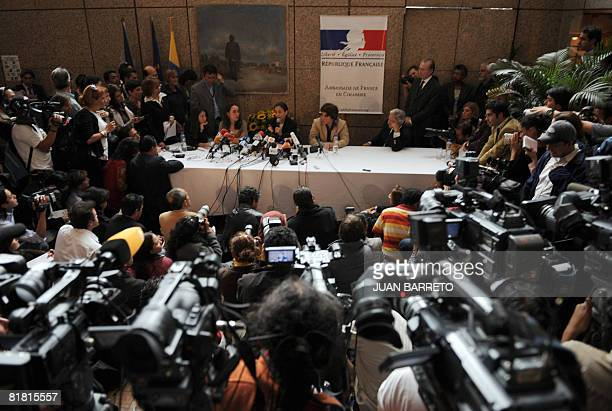 Freed Colombian hostage Ingrid Betancourt speaks during a press conference at the French embassy in Bogota on July 3 2008 Betancourt was tearfully...