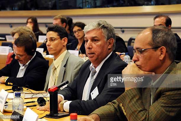 Freed Cuban dissidents Antonio Diaz Normando Hernandez Ricardo Gonzalez Alfonso and Alejandro Gonzalez Raga speak in front of the Subcommittee on...