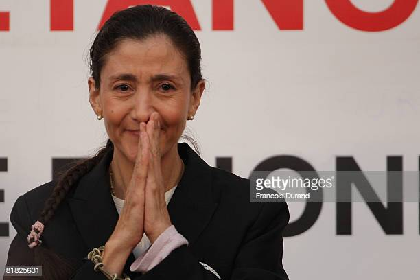 Freed hostage Ingrid Betancourt addresses the crowd as she arrived at the hotel de ville on July 4 2008 in Velizy Villacoublay France She came to...