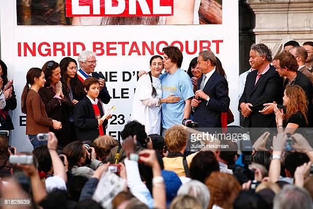 Freed hostage Ingrid Betancourt hugs her children Lorenzo Betancourt and Melanie Betancourt at the hotel de ville on July 4, 2008 in Paris, France....